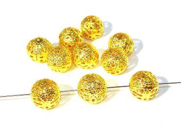 Filigrane Metallperlen Kugel Gold, 10 Stück #A00846