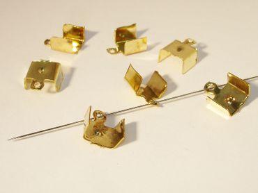 Klemmbleche Verbinder groß, 11x8mm, Gold, 6 Stück #Z126