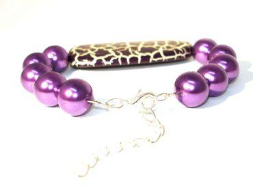 Effekt Perlen XXL Designer Perlen, Violett krakeliert, 2 Stück #UU36 – Bild 3