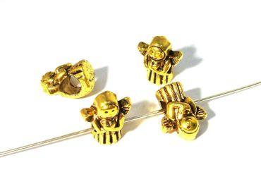 Großlochperlen, Modulperlen, Engel, 13x11mm, Gold, 2 Stück #Z3