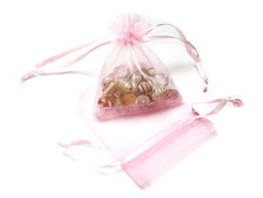Organzabeutel Schmuckbeutel Geschenkbeutel, 9x7,5mm, rosa, 5 Stück #A03255