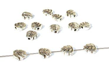Metallperlen, Spacer, Tibet, Blatt, 7mm, Silber, 10 Stück #U86