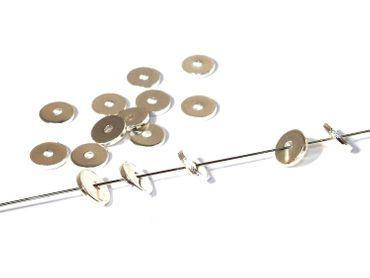 Metallperlen Schmuck Scheiben 6mm, Silber Silber, 25 Stück #UU75
