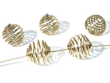 Metallperlen Drahtperlen Spirale, 15x14mm, Silber, 2 Stück #A01046