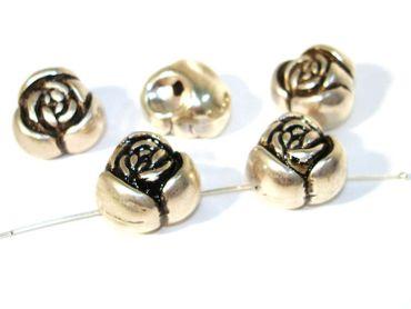 Metallperlen Zwischenperlen Rose, 3 D, Silber, 2 Stück #A02381