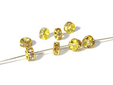 Strass Rondelle, Spacer, 7mm, Gold / Kristall, 5 Stück #Z90