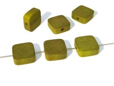 Polarisperlen, 12x12mm, Oliv matt, 2 Stück #PU24