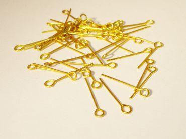 Kettelstifte Ösenstifte, 20mmx0,8mm, Gold, 50 Stück #Z229