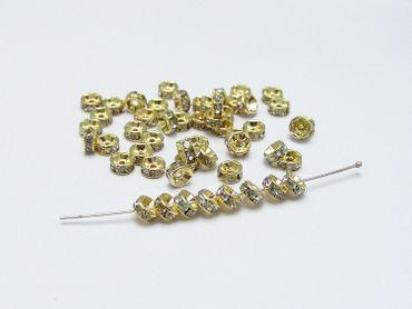 Strass Rondelle 5mm, Gold - Kristal, 3 Stück #Z96