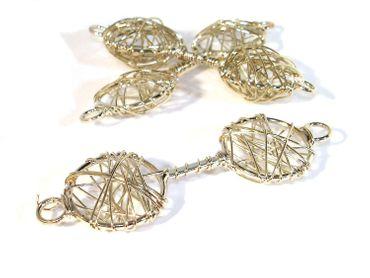 Großer Verbinder drahtummantelt Metallperle Silber #U81