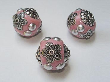 Kashmiriperlen, Designer, Tonperlen, verziert, 19mm, Rosa, 2 Stück #H10547