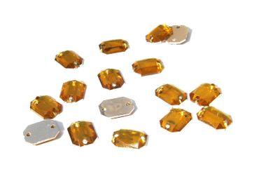 Facettierte Aufnähsteine, 8eck, 8x6mm, Gold, 30 Stück #P98