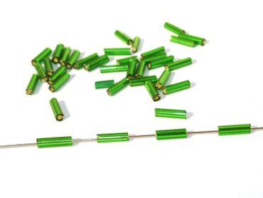 Glasstiftperlen Glasperlen 7x2mm, dkl. grün, 20 Gramm #GS13