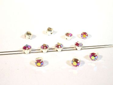 Glas Aufnähsteine / Strasssteine, gefasst, 5mm, Crystal AB, 15 Stück #P155