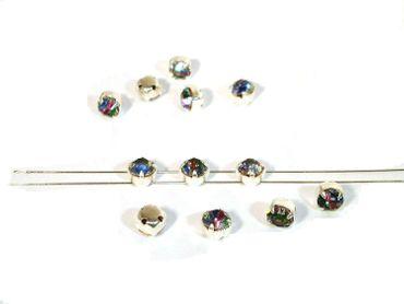 Glas Aufnähsteine / Strasssteine, gefasst, 6, 5mm, Multicolor, 10 Stück #P156