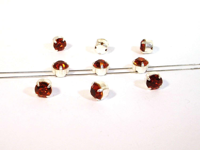 10 Stück #P169 Crystal copper Aufnähsteine // Strasssteine gefasst 5mm 6