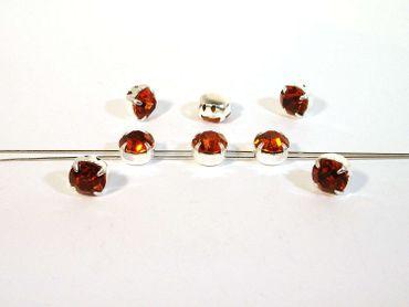 Glas Aufnähsteine / Strasssteine, gefasst, 8mm, Crystal copper, 6 Stück #P184