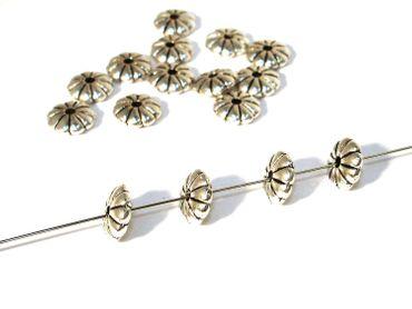Metallperlen Rondelle - Blume 8x3mm, Silber, 10 Stück #UU5