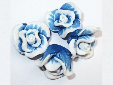 Resin Harz Blumen Cabochons Perlen, 22x12mm, Blau, 4 Stück #K209 – Bild 1