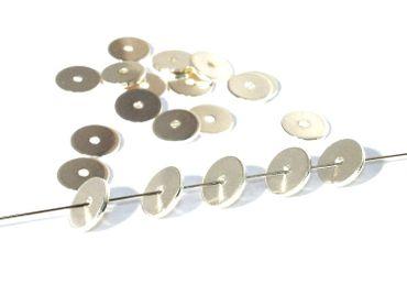 Metallperlen - Schmuck Scheiben, 8mm, Silber, 25 Stück #UU76