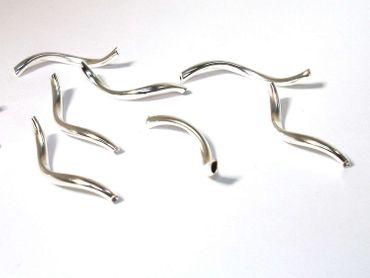 Metallperlen, Röhren, 25x2mm, Silber, 5 Stück #A03827