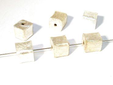 Würfel Metallperle Wisilva 8x8mm Kupfer gebürstet versilbert  #1007