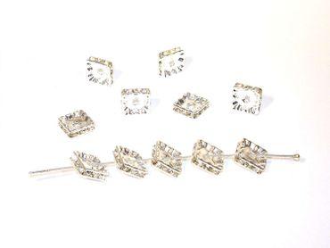Strassrondelle,10mm, Quadrat, Silber - Kristall, 2 Stück #Z98/1