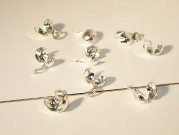 Klappkapseln Quetschkalotten 4mm Silber, 4 Stück #Z50