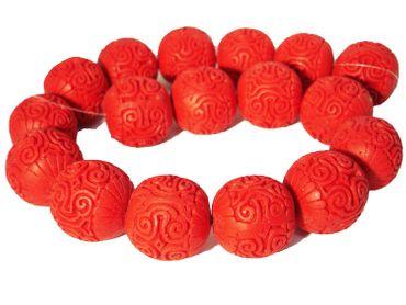 Chinesische Lackperlen, Cinnabar, Kugel, 25mm, Zinnober rot, 2 Stück #ED72P