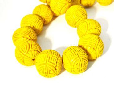 Chinesische Lackperlen, Cinnabar, Kugel, 22mm, Zinnober gelb, 2 Stück #ED82P