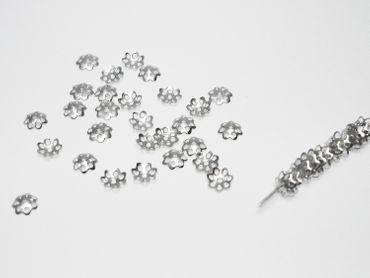 Filigrane Perlkappen - Perlenkappen, 6mm, Silber, 20 Stück #Z63