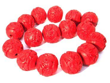 Chinesische Lackperlen, Cinnabar, Kugel, 24mm, Zinnober rot, 2 Stück #ED62P