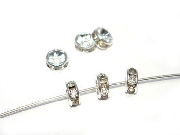 Strassrondelle, Silber / crystal, 8mm, 5 Stück #Z102