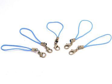 Handyanhänger, Handyschlaufe, Handyschmuck, hellblau, 5 Stück #HA7