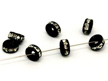 Strassrondelle, Schwarz / kristall, 8x4mm, 5 Stück #U141