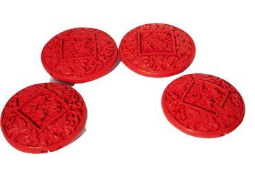 Chinesische Lackperle, Cinnabar, rund, 54x54mm, Zinnober rot #ED61P