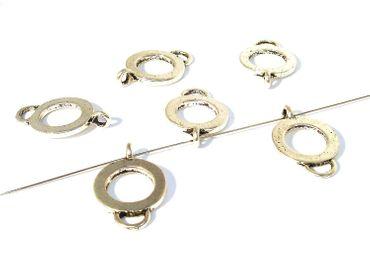 Metallperlen - Verbinder mit Ösen 23x14mm Silber, 4 Stück #A04774