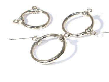 Metallperlen-Verbindungsring m. 2 Ösen 30mm Silber #U8