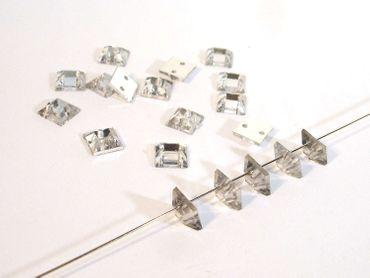 Facettierte Aufnähsteine, quadrat, 6x6mm, Kristall, 30 Stück #P84