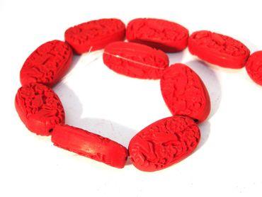 Chinesische Lackperle 2 Stück #ED71P 28mm Zinnober rot rondell Cinnabar