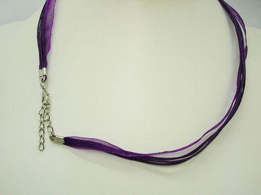 Halsband Organza Band Halskette Trachtenschmuck, Violett #OB1