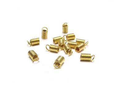 Metall Spirale f. Lederband - Verbinder Gold, 10 Stück #U138/1