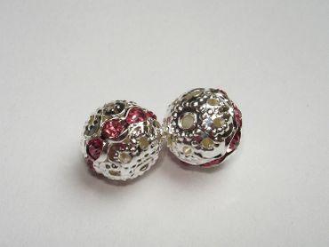 Strassperlen Kugel 10x9, 5mm Rosa, 2 Stück #A07049