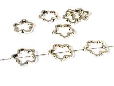 Metallperlen Rahmenperlen 16mm Silber, 5 Stück #A07786