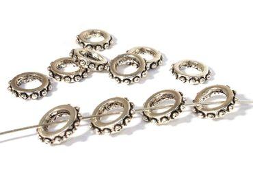 Metallperlen Ringe verziert 13x3mm Silber, 5 Stück #A07942