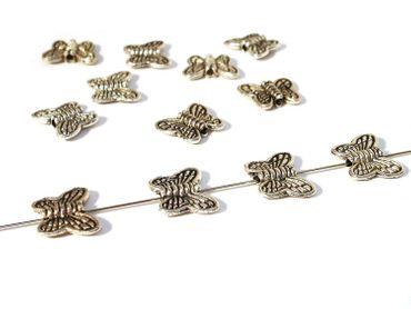 Metallperlen Schmetterling 10x8mm Silber, 15 Stück #A00016 – Bild 1