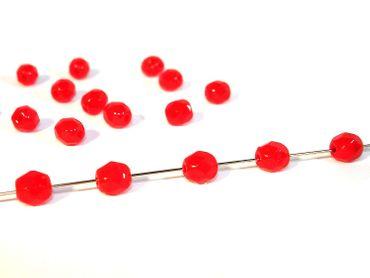 Facettierte Glasschliffperlen, 4mm, Rot opak, 100 Stück #GG73/1