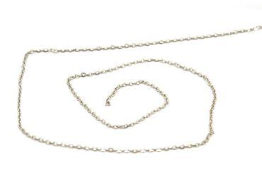 Metallkette, Bastelkette, Gliederkette platin / Silber, 1 Meter #L35