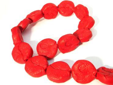 Chinesische Lackperlen, Fisch, 23x10mm, Zinnober rot, 2 Stück #ED60P
