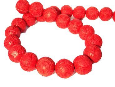 Chinesische Lackperlen, 15x16mm, Zinnober rot, 5 Stück #ED78P